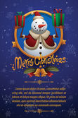 Vector Christmas card with round golden label decorated with gold stars bells green fir branches and red ribbons with a cartoon image of a funny white snowman in a red Santa's hat and red-white jacket with two red and green gifts in the hands