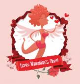 Vector image of red round frame with banner rose doves red heart symbols with cartoon image of pretty female cupid sending blow kisses on light pink background Valentine's Day Vector illustration