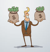 Vector man with two bags of money Cartoon image of a man blonde in a brown suit who keeps in each hand a bag of money on a light background