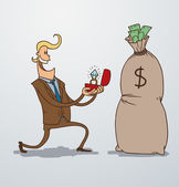 Vector man proposing marriage to a bag of money Cartoon image of a man blonde in a brown suit with a ring in the hands of proposing marriage to big bag of money on a light background