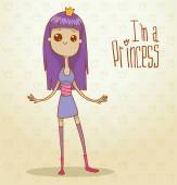 Vector modern princess with violet hair Cartoon image of a modern princess with violet hair with a crown on her head dressed in a blue dress on a light background The text is written in the curves