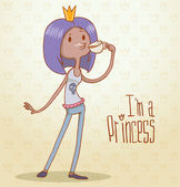 Vector modern princess with purple hair Cartoon image of a modern princess with purple hair with a crown on her head dressed in blue pants and a tank top on a light background The text is written in the curves