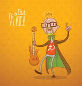 Vector modern prince bald Cartoon image of a modern prince bald with a crown on his head dressed in blue pants a red shirt and brown-green cloak with a guitar in his hand on an orange background The text is written in the curves