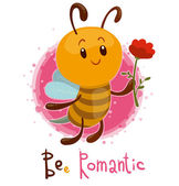 Vector illustration of cute bee romantic