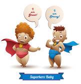 Vector illustration of Superhero babies with speech bubbles
