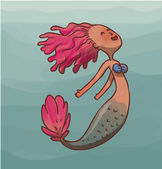 Vector illustration of Mermaid female with pink hair