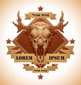 Vector Animal's skull emblem moose Image of brown diamond-shaped wooden emblem with a beige banners and stars with cartoon image of a beige moose's skull with horns in the center on a white background