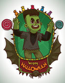 Vector card with green oval frame decorated with a red banner with black bat wings black spider and different colored candies with cartoon image of a boy in Frankenstein's monster costume for Halloween in the center on a light background