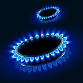 Illustration of two gas stove firing in the darkness