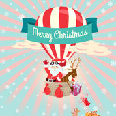 Festive Merry Christmas greeting card with Santa Claus and his d