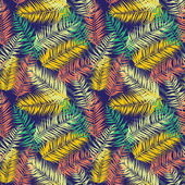 Vector illustration Seamless color palm leaves pattern