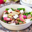 Постер, плакат: Warm salad with fried radishes spinach bacon cream cheese fet