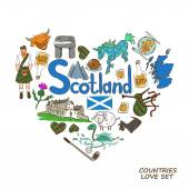 Colorful sketch collection of Scottish symbols Heart shape concept Scotland travel background