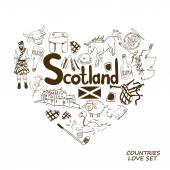 Graphic sketch collection of Scottish symbols Heart shape concept Scotland travel background