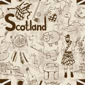 Fun graphic sketch Scottish seamless pattern on a retro background Travel concept of Scotland symbols and association