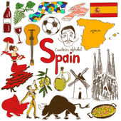 Fun colorful sketch collection of Spain icons countries alphabet