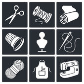 Sewing icons set on a black background