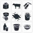 Постер, плакат: Milk production icon collection