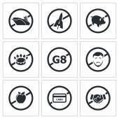 Prohibiting signs sanctions pressure on Russia Icon flat collection isolated on a white background