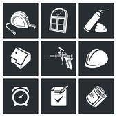 Icons collection of windows Installation Icons set on a white background