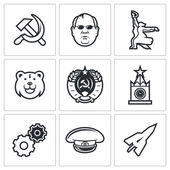 Soviet union Vector Isolated Flat Icons collection on a white background for design