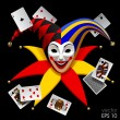 Постер, плакат: Joker head with playing cards isolated on black