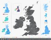 Vector map of British Isles with administrative divisions