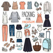 Summer travel luggage Packing for vacation Woman clothing set Vector hand-drown objects sketch Fashion collection