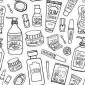 Hand drawn vector seamless pattern of make up and cosmetics Make up collection for shop and spa