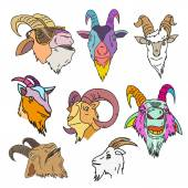 Set of goat heads vector illustration