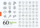 Set of nature icons for web or services 60 design eco line icons high quality vector illustration