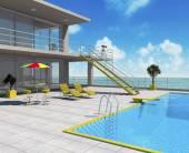 Beltér tulajdonságai az ingatlanban a medence és a tengeri tájkép