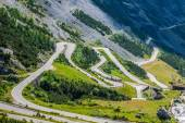 Serpentine mountain road in Italian Alps, Stelvio pass, Passo de