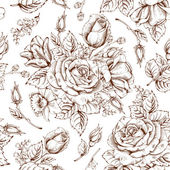 Vintage luxury seamless pattern with detailed hand drawn flowers - blooming rose Vector Easy to edit