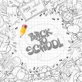 Back to School background with hand drawn doodle stationery and other school subjects arranged around text (lettering) written by pencil Vector illustration