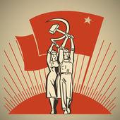 Felice uomo e donna insieme tenendo in mano lavoro strumenti della falce e martello sullo sfondo del sole nascente e bandiera sventolante socialismo vettoriale illustrazione