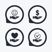 Smile and hand icon Heart and Tick or Check symbol Palm holds Dollar currency sign Flat icon pointers