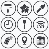 Clock, wifi and stars icons. Paint roller, brush icons. Spray can and Spatula signs. Wall repair tool and painting symbol. Calendar symbol.