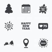 Calendar like counter and go to web icons Happy new year icon Christmas trees signs World globe symbol Location pointer