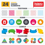 Banner tags stickers and chart graph Hand wash icon Machine washable at 30 degrees symbols Laundry washhouse and water drop signs Linear patterns and textures