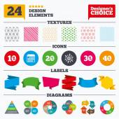 Banner tags stickers and chart graph Sale discount icons Special offer price signs 10 20 30 and 40 percent off reduction symbols Linear patterns and textures
