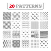 Ornament patterns diagonal stripes and stars Sale discount icons Special offer price signs 20 30 40 and 50 percent off reduction symbols Geometric textures Vector