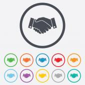 Handshake sign icon Successful business symbol Round circle buttons with frame Vector