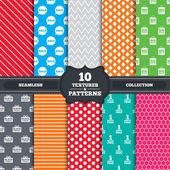 Seamless patterns and textures Sale speech bubble icon Black friday gift box symbol Big sale shopping bag First month free sign Endless backgrounds with circles lines and geometric elements Vector