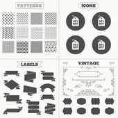 Seamless patterns Sale tags labels Sale price tag icons Discount special offer symbols 30 50 70 and 90 percent off signs Vintage decoration Vector