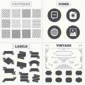 Seamless patterns Sale tags labels Social media icons Chat speech bubble and world globe symbols Hipster photo camera sign Landscape photo frame Vintage decoration Vector