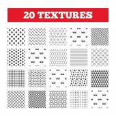 Seamless patterns Endless textures Wash icons Machine washable at 20 30 40 and 50 degrees symbols Laundry washhouse signs Geometric tiles rhombus Vector