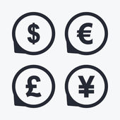 Dollar Euro Pound and Yen currency icons USD EUR GBP and JPY money sign symbols Flat icon pointers