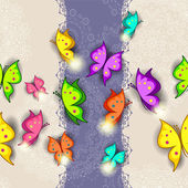 Banner colorful butterflies seamless-transparency blending effects and gradient mesh-EPS 10