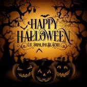 Jahrgang glückliches Halloween typografische Hintergrund mit Kürbisse